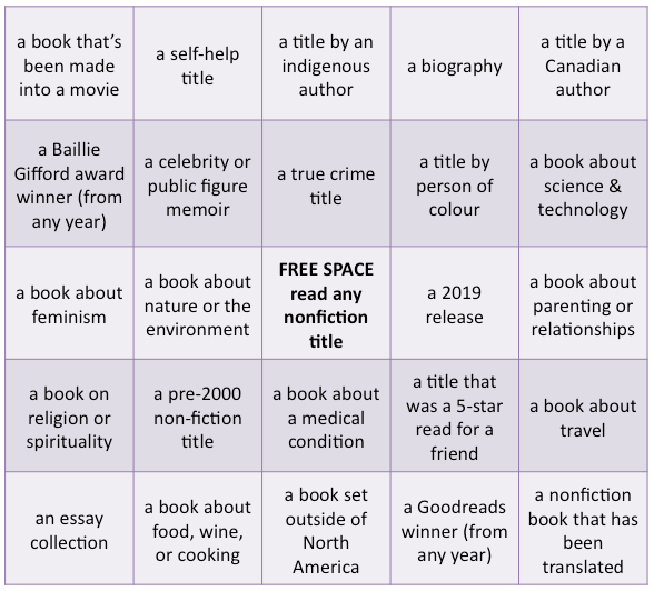 Nonfiction Book Bingo
