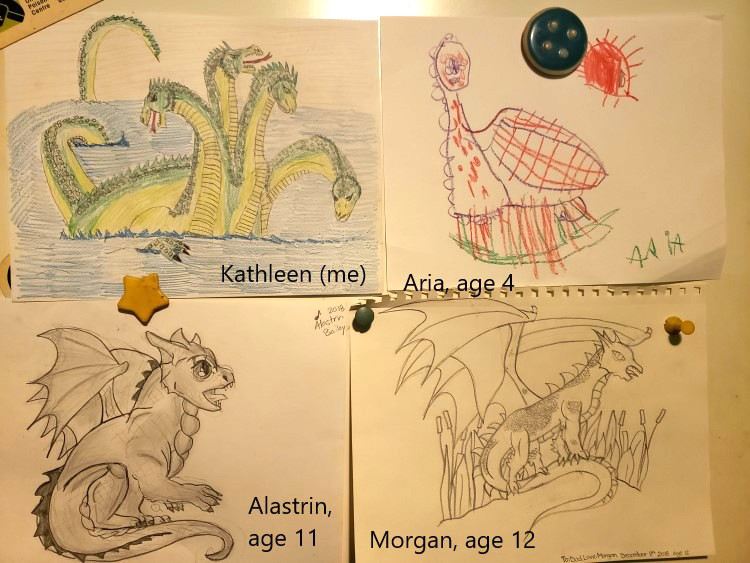 Our Dragons We Drew with the help of Drawing Fantastic Dragons by Sandra Staple